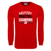 Red Long Sleeve T Shirt-2017 Northern Sun Intercollegiate Conference Men and Women Champions
