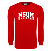 Red Long Sleeve T Shirt-MSUM Dragons