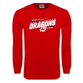 Red Long Sleeve T Shirt-Stencil Type Design