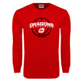 Red Long Sleeve T Shirt-Basketball Design