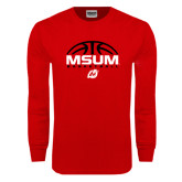 Red Long Sleeve T Shirt-Arched Basketball Design