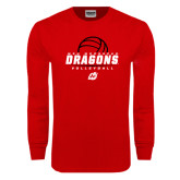 Red Long Sleeve T Shirt-Volleyball Design