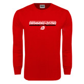 Red Long Sleeve T Shirt-Swimming & Diving Design