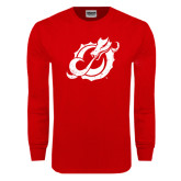 Red Long Sleeve T Shirt-Dragon Mark Distressed