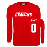 Red Long Sleeve T Shirt-Official Logo, Custom Tee w/ Name and #