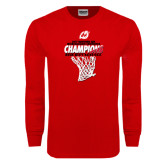 Red Long Sleeve T Shirt-2017 Northern Sun Intercollegiate Conference Mens Champions