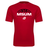 Performance Red Tee-Arched Basketball Design