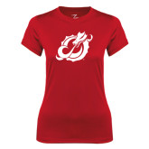 Ladies Syntrel Performance Red Tee-Dragon Mark