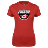 Ladies Syntrel Performance Red Tee-2017 Northern Sun Intercollegiate Conference Womens Champions