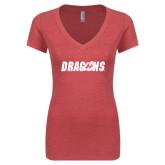 Next Level Ladies Vintage Red Tri Blend V-Neck Tee-Dragons