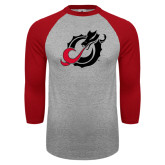 Grey/Red Raglan Baseball T Shirt-Dragon Mark