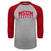 Grey/Red Raglan Baseball T Shirt-MSUM Dragons
