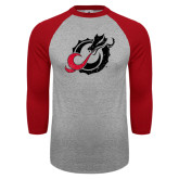 Grey/Red Raglan Baseball T Shirt-Dragon Mark Distressed