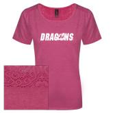 Ladies Dark Fuchsia Heather Tri-Blend Lace Tee-Dragons