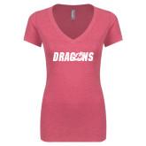 Next Level Ladies Vintage Pink Tri Blend V-Neck Tee-Dragons