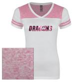 Ladies White/Bright Pink Juniors Varsity V Neck Tee-Dragons Foil