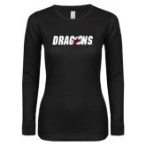 Ladies Black Long Sleeve V Neck T Shirt-Dragons