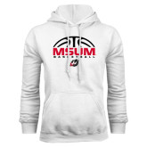 White Fleece Hoodie-Arched Basketball Design