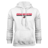 White Fleece Hoodie-Swimming & Diving Design
