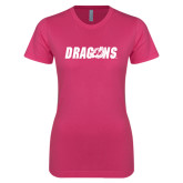 Ladies SoftStyle Junior Fitted Fuchsia Tee-Dragons
