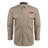 Khaki Long Sleeve Performance Fishing Shirt-Dragons