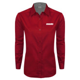 Ladies Red Twill Button Down Long Sleeve-Dragons