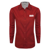 Ladies Red Twill Button Down Long Sleeve-2017 NSIC Champions - MSUM Basketball