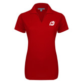 Ladies Red Dry Zone Grid Polo-Dragon Mark