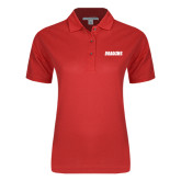 Ladies Easycare Red Pique Polo-Dragons