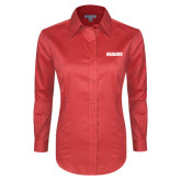 Ladies Red House Red Long Sleeve Shirt-Dragons