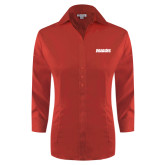 Ladies Red House Red 3/4 Sleeve Shirt-Dragons