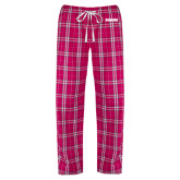Ladies Dark Fuchsia/White Flannel Pajama Pant-Dragons