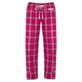 Ladies Dark Fuchsia/White Flannel Pajama Pant-Dragons