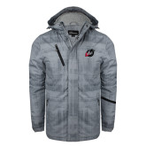 Grey Brushstroke Print Insulated Jacket-Dragon Mark