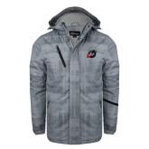 Grey Brushstroke Print Insulated Jacket-Dragon Mark
