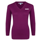 Ladies Deep Berry V Neck Sweater-Dragons