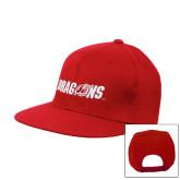 Red Flat Bill Snapback Hat-Dragons