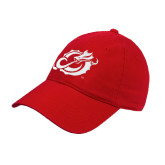 Red Twill Unstructured Low Profile Hat-Dragon Mark