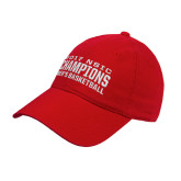 Red Twill Unstructured Low Profile Hat-2017 NSIC Champions - Mens Basketball