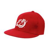 Red OttoFlex Flat Bill Pro Style Hat-Dragon Mark