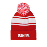 Red/White Two Tone Knit Pom Beanie with Cuff-Dragons