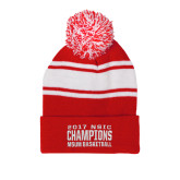 Red/White Two Tone Knit Pom Beanie with Cuff-2017 NSIC Champions - MSUM Basketball
