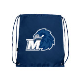 Navy Drawstring Backpack-Hawk with M