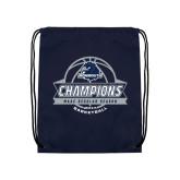 Navy Drawstring Backpack-2017 MAAC Regular Season Basketball Champions Banner