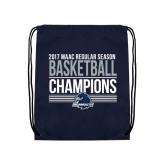 Navy Drawstring Backpack-2017 MAAC Regular Season Basketball Champions Stacked