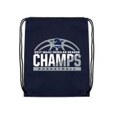 Navy Drawstring Backpack-2017 MAAC Regular Season Basketball Champs Half Ball