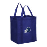 Non Woven Navy Grocery Tote-Hawk with M