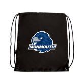 Nylon Black Drawstring Backpack-Official Logo