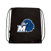 Black Drawstring Backpack-Hawk with M
