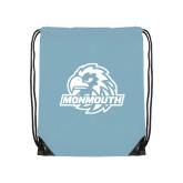 Nylon Light Blue Drawstring Backpack-Official Logo